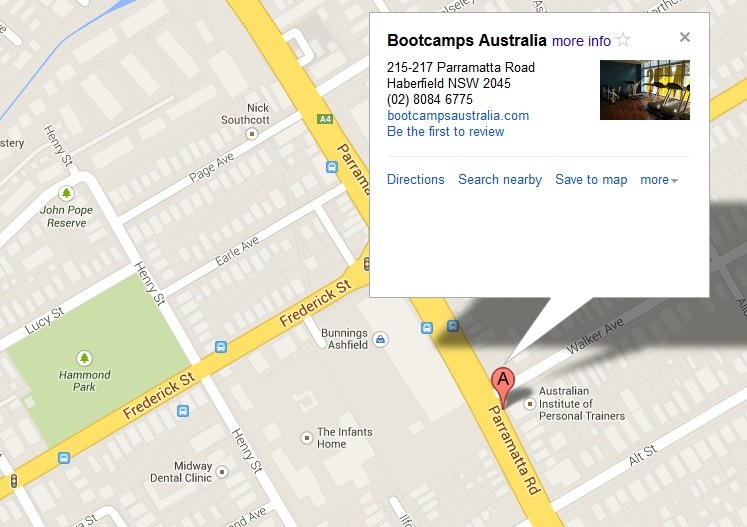 Map to Bootcamp Australia, Haberfield